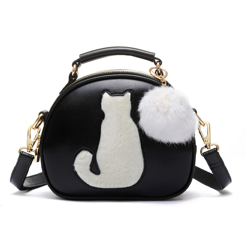 Cute Cat Messenger Bags Girls Circle Black Leather Handbag 2017 Fashion Women Fur Ball Crossbody Shoulder Bag Small bolso XA122H