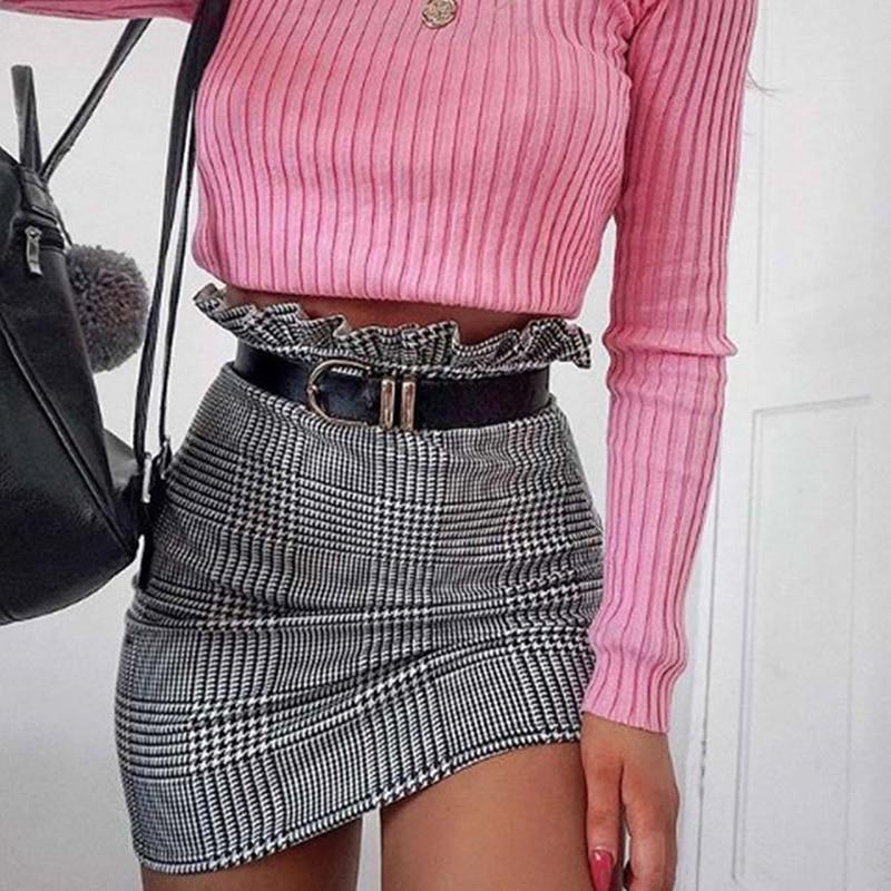 1pa New Fashion Style Plaid A-line Skirt Ruffles High Waist Skirt Women Mini Skirts Female New Summer Autumn Sexy Skirt Women