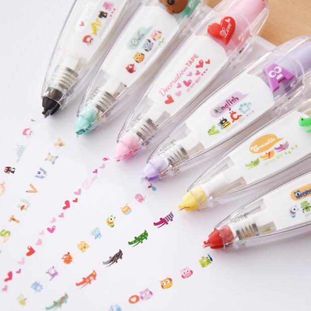 Nueva llegada Kawaii animales prensa tipo cinta de corrección decorativa diario papelería suministro escolar