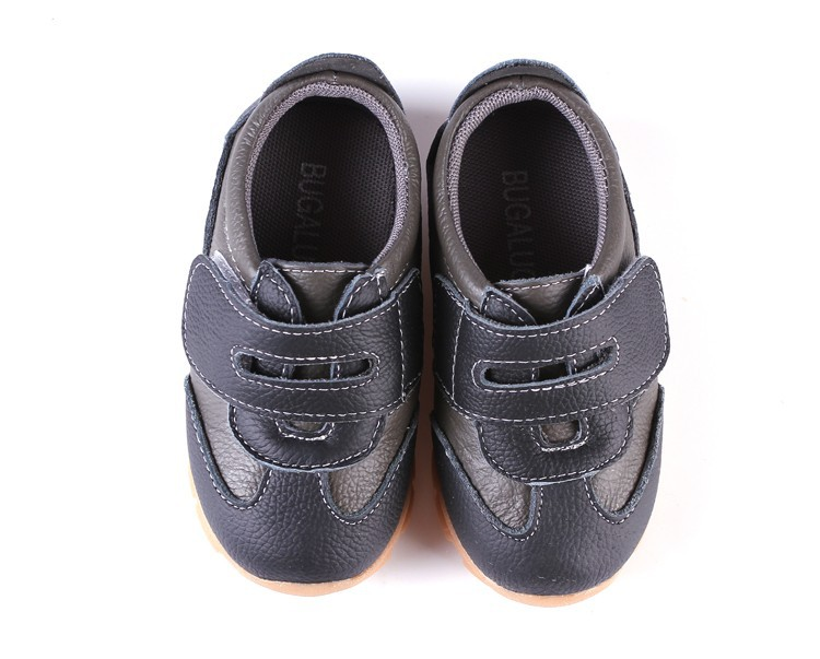 SandQ baby Boys sneakers soccers shoes girls sneakers Children leather shoes pink red black navy genuine leather flexible sole 27
