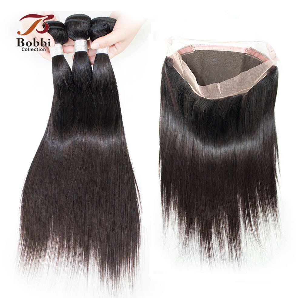 360 Lace Frontal With Bundles Peruvian Straight Hair Weave 3 Bundles with Closure Non Remy Human Hair Extension BOBBI COLLECTION