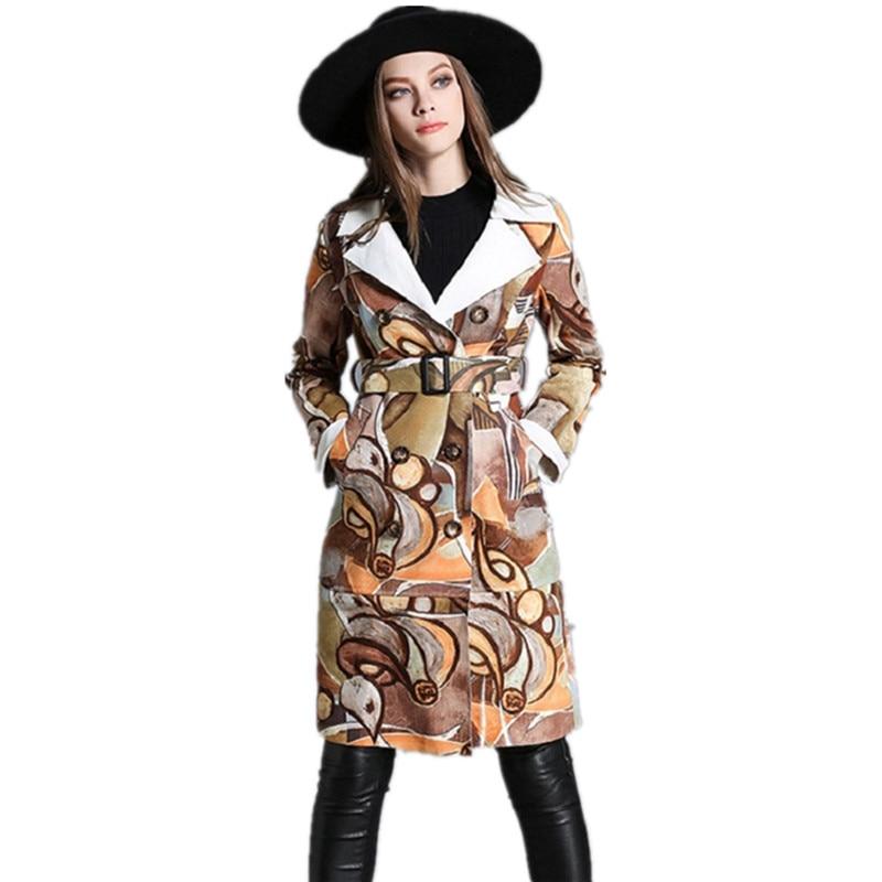 Nouveau Mode Coupe-Vent Femmes Long Manteaux Automne Hiver Femelle Mince  Tranchée Manteau En Daim Imprimé Manteaux mi-longue Tranchée Manteaux CT274 295dbff795a8