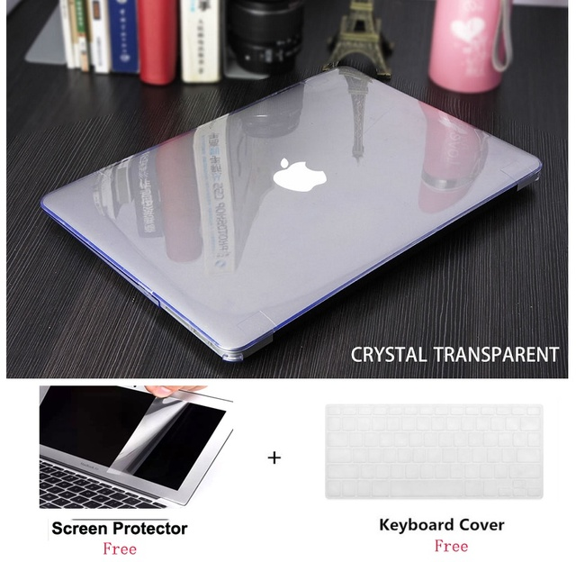 Crystal Laptop Hard Case+Screen Protector (Gift)+Keyboard Cover (Gift) For Macbook Pro Air 11 12 13 15 inch with/out Touch Bar