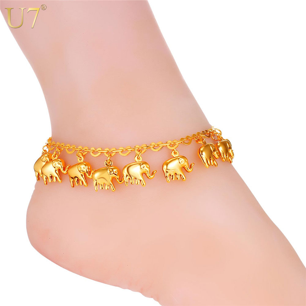 U7 Little Elephant Anklet For Women Gift Silver/Gold Color Wholesale Cute Animal Summer Jewelry Foot Anklet A319