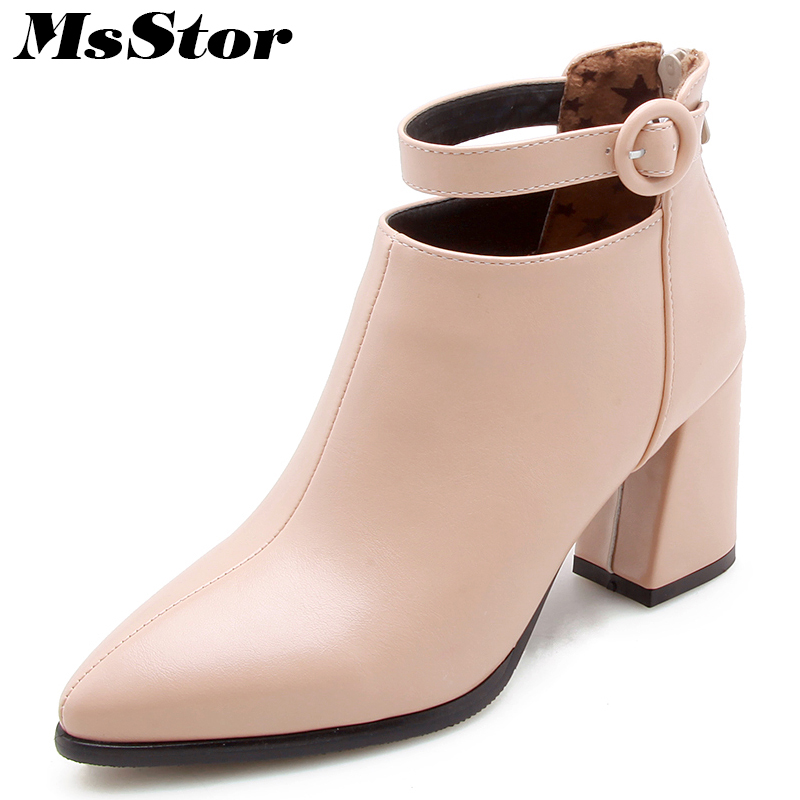 Pointed Toe Square Heel Women Boots Fashion Buckle Ankle Boots Women Shoes Zipper Cheap High Heel Boots Shoes Woman Large Size double buckle flat heel zipper boots