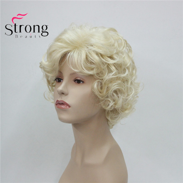 StrongBeauty Short Soft Shaggy Layered Cute Blonde Curly Wavy Short Synthetic Women's daily full Wig 1