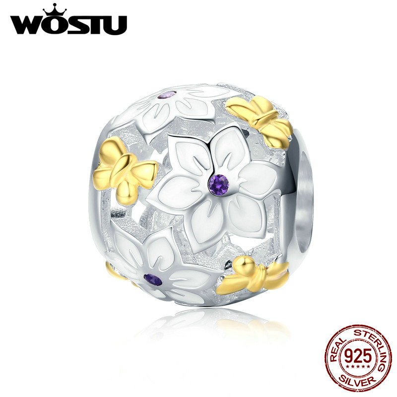 WOSTU Authentic 925 Sterling Silver Gold Color Flowers and Butterflies Charm Beads for Original Women Bracelet Necklace CQC546 flowers butterflies pattern waterproof shower curtain
