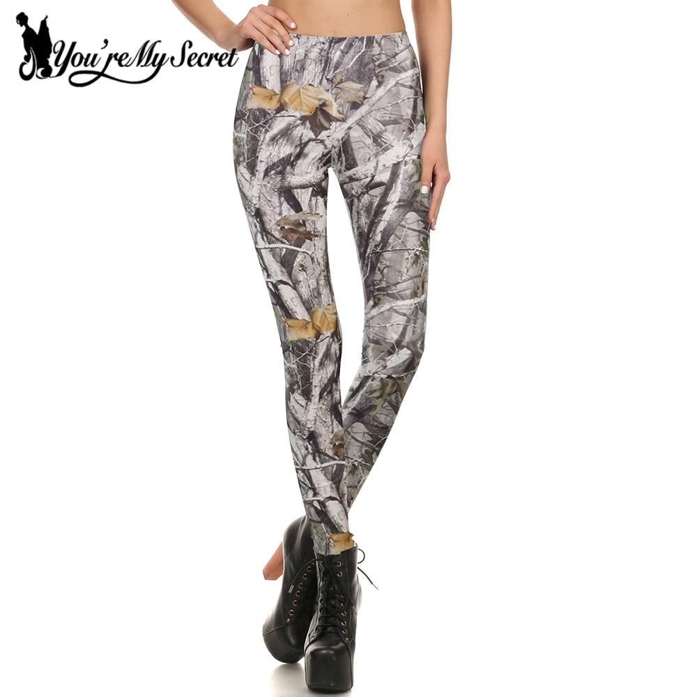 [You're My Secret] Branches 3D Printing Bucks Leggings Plus Size Women Elasticity Shiny Slim Women Fitness Bohemia Leggins