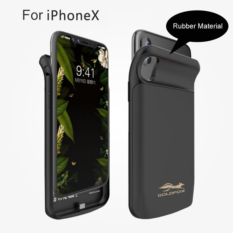 GOLDFOX 6000mAh External Magnetic Power Bank Battery Charger Case For iphone X Portable Backup Charging Back Cover Case