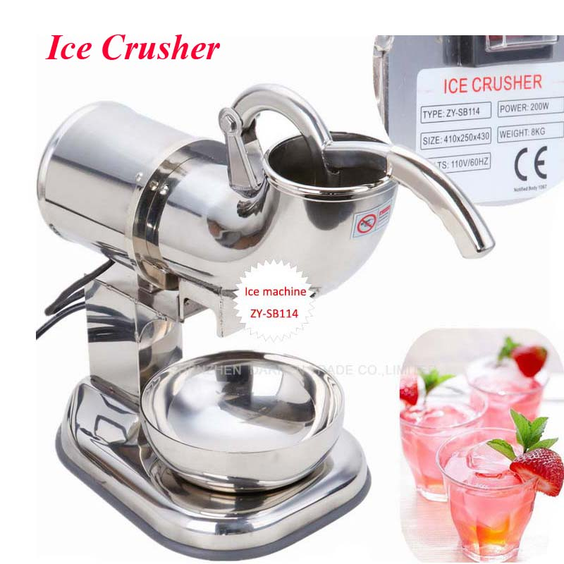 1pc 110v 220v Fully Stainless Steel Snow Cone Machine, Ice Shaver Maker, Ice Crusher Maker, Ice Cream Machine ZY-SB114 commercial tea shop sand ice machine electric snow ice cream shaver shaved ice cream shaving maker machine crusher machine