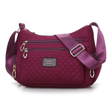 Fashion Six Zippers Diamond Lattice Pattern Womens Messenger Bag High Quality Waterproof Nylon Multi pockets Cross body Bag