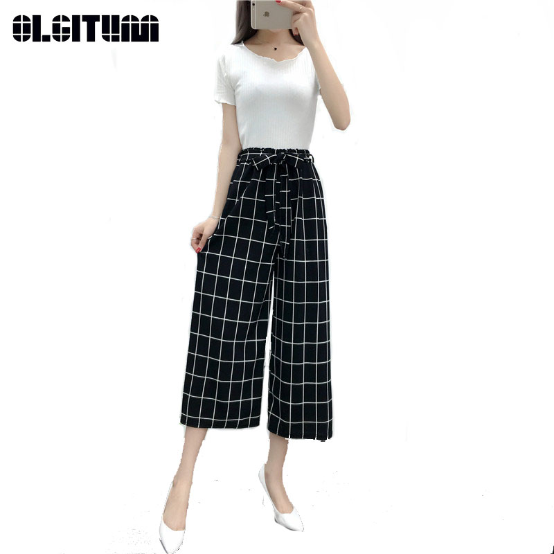 New 2019 Women Spring and Summer   Wide     Leg     Pants   Casual Loose Elastic Waist Harem   Pants   Loose Belt Striped   Pants   PT205