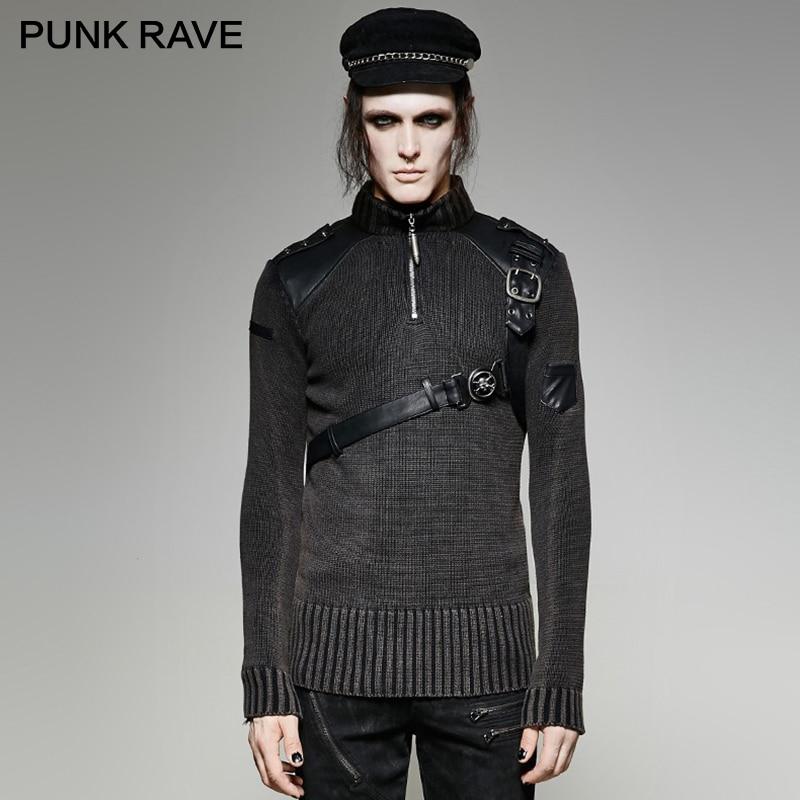 PUNK RAVE Heavy Punk estilo Otoño Invierno tachonado suéter de cuero negro hombres Steampunk buen ajuste militar Retro