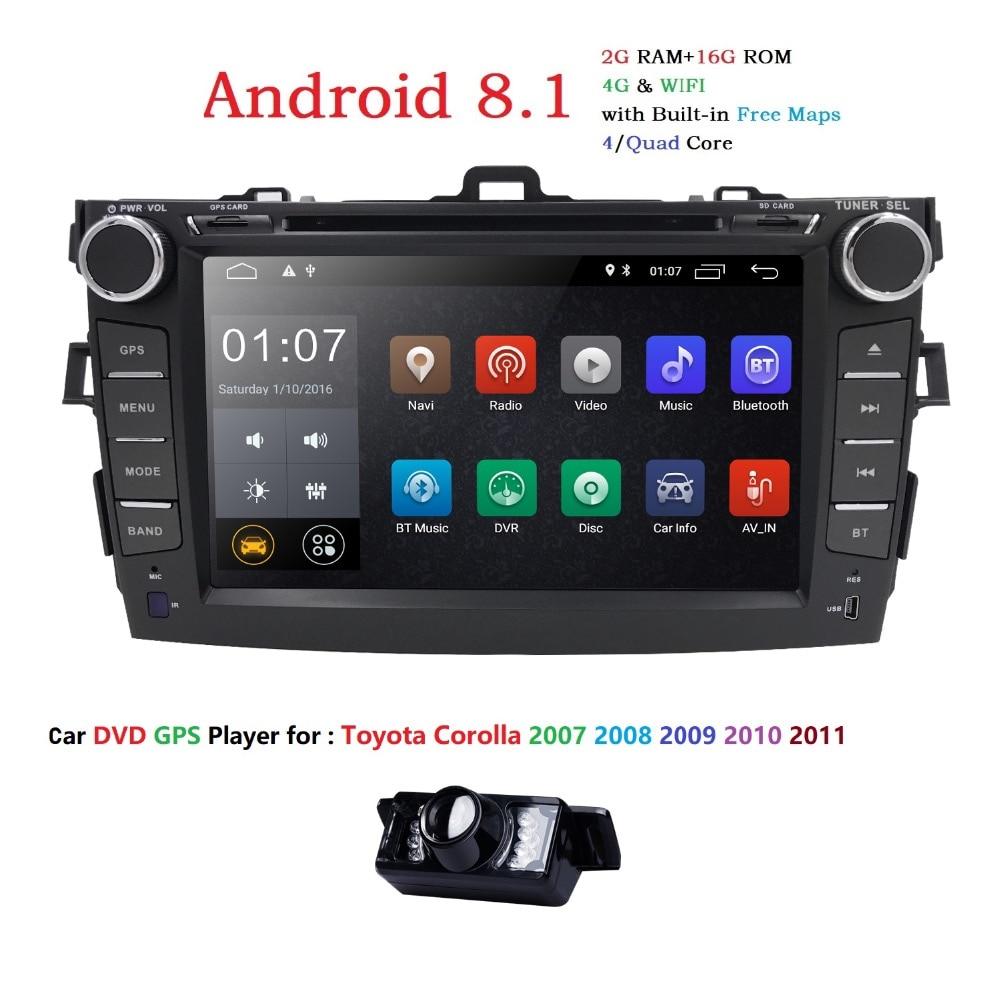 Autoradio 2 din Android 8.1 Car DVD Player For Toyota corolla 2008 2007 2009 2010 2011 Multimedia head unit gps navigation Wifi