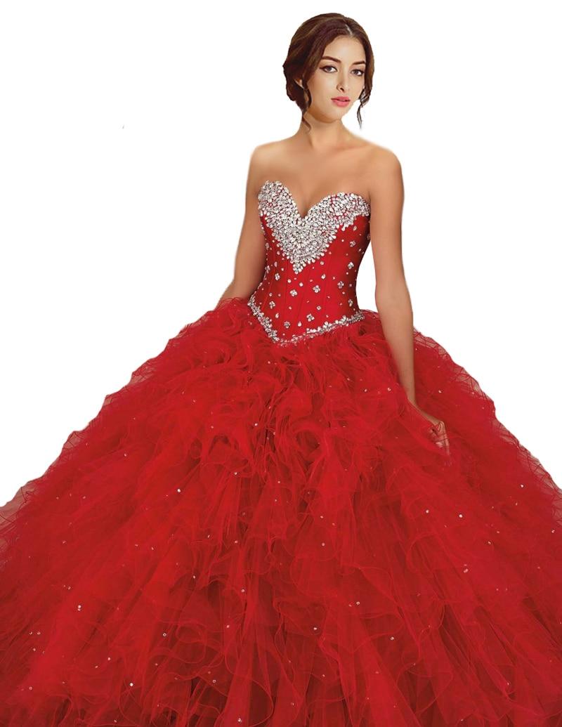 f7f3cec4a Impresionante hermosa vestidos del Quinceanera rojo de Organza con volantes  vestidos del partido para dulce 16 años Girls Sweetheart en Vestidos de ...