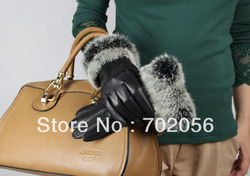 BEAUTIFUL Women rabbit fur fringed Genuine leather gloves skin gloves LEATHER GLOVES mixed color SUPER QUALITY SOFT#3124
