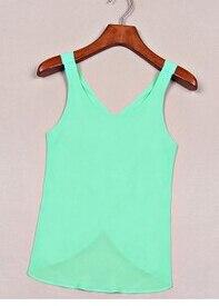 10 шт./партия,, летние женские повседневные рубашки из конфетного цвета, без рукавов, сексуальный однотонный топ с открытой спиной, шифоновый однотонный жилет - Цвет: green