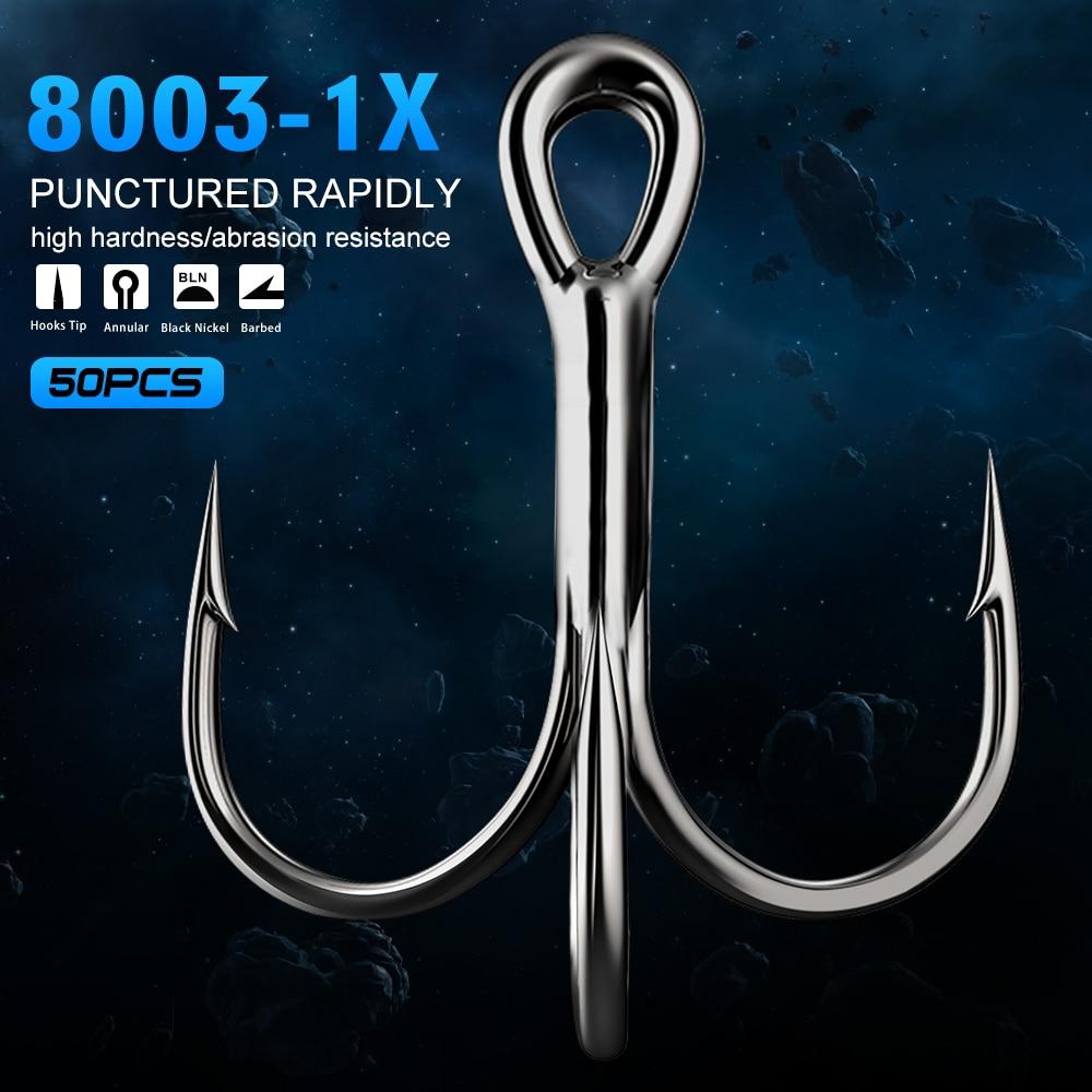 50pcs Black Fishing Hook Sharpened Treble Hooks Saltwater Tackle Size 12#-3//0#