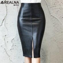 Из искусственной кожи Миди юбка женская плюс Размеры Фасонная юбка Осенне-зимняя Дамская обувь черные женские спереди или сзади юбка-карандаш с разрезом юбка офисная
