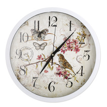 2018 New Retro Classical Bird Watch Wall Clock Hanging 12 Inch Stylish Dial Glass Cover for Living Room