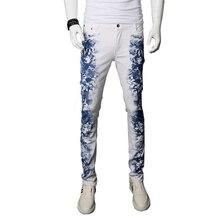 2017 новый цветок печатных мужчин джинсы брюки slim fit хлопок тощий брюки джинсовые брюки 28-36 AYG181
