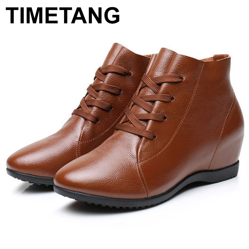 TIMETANG2018New Fall Genuine Leather Flat Heel Women Single Shoes Women's Casual Boots Female Flats Height Increasing Boots E321