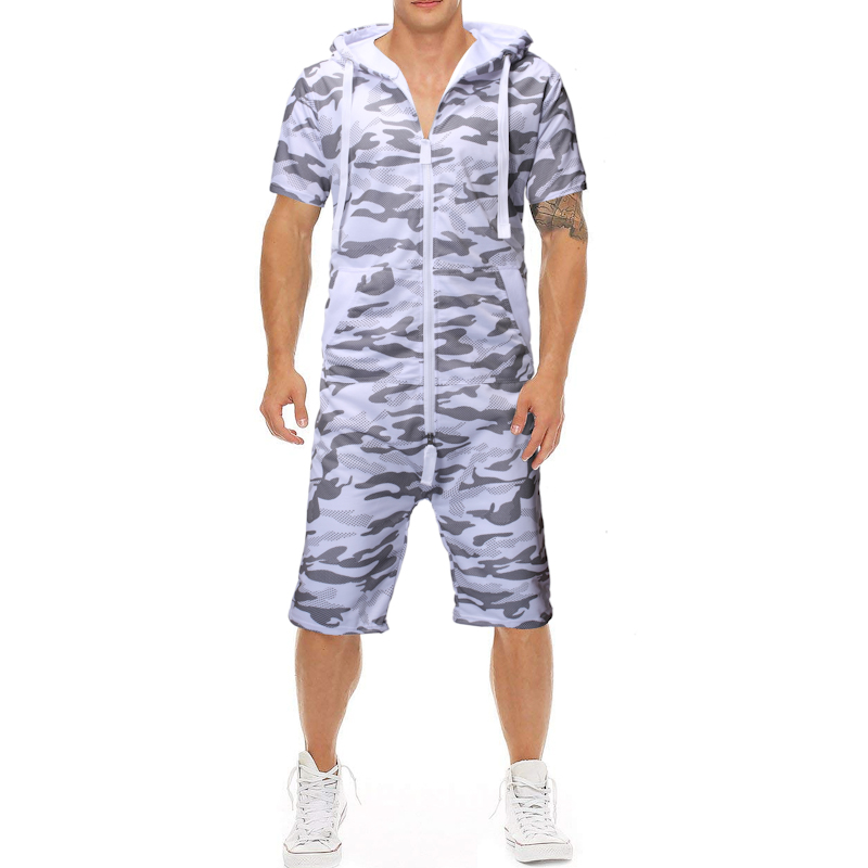 2019 Summer New Classic Camouflage Printing Men 39 S Casual Slim One Piece Suit Sports Short Sleeved Shorts Jumpsuit in T Shirts from Men 39 s Clothing