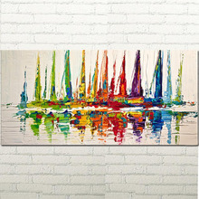 Oil Painting Abstract Pictures Contemporary Seascape Palette Knife Painting of Drawing Abstract Sailboats Painting on Canvas