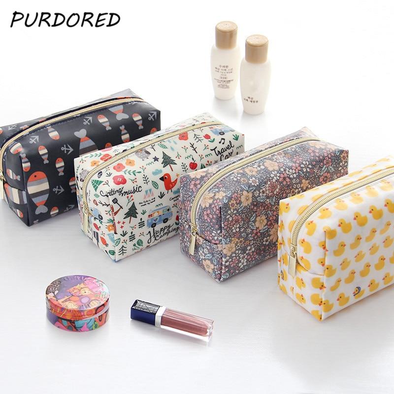 PURDORED 1 Pc Cartoon Cosmetic Bag Fish Duck Pattern Women Make Up Bag Travel Floral Toiletry Bag Kit Kosmetyczka Dropshipping