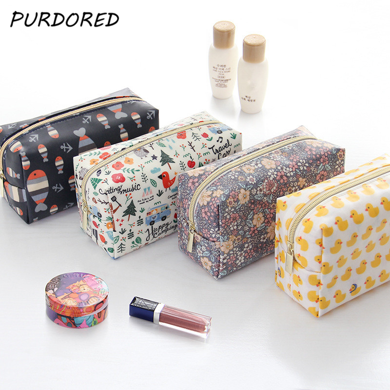 PURDORED 1 Pc Cartoon Cosmetic Bag Fish Duck Pattern Women Make Up Bag Travel Floral Toiletry Bag Kit Kosmetyczka Dropshipping