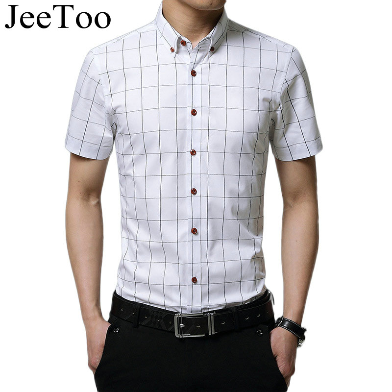 Famous brand men shirt short sleeve mens shirts slim fit for Fitted short sleeve dress shirts for men