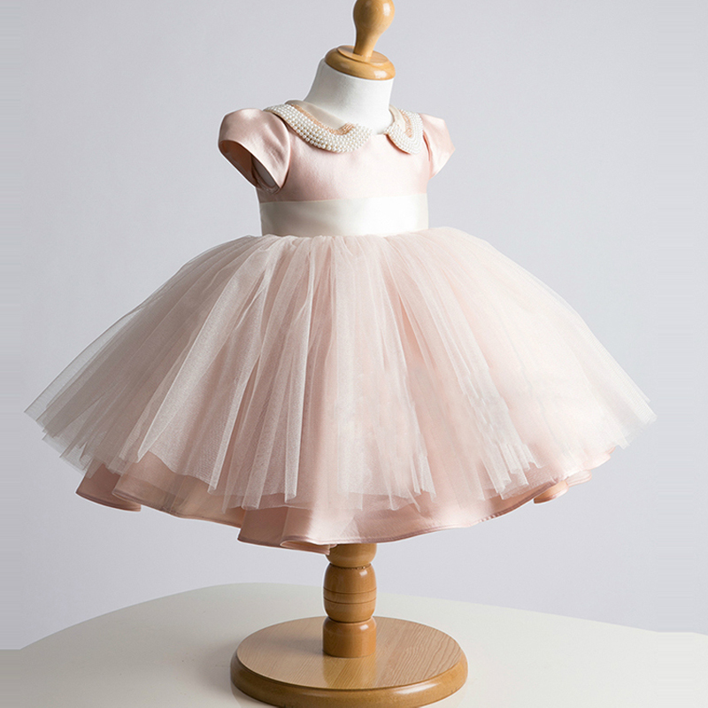 купить Baby Girls Ball Gown Flower Girl Dress Bridesmaid Clothes Princess Gowns Big Bow Girl Pink Summer Dress Tulle Evening Dress A33 недорого