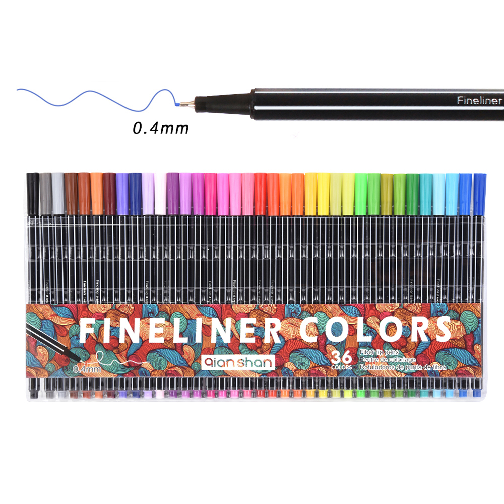 36colors Fine Liner Pen Set Micron Sketch Marker Colored 0.4mm Coloring for Manga Art School Needle Drawing Sketch Marker Comics touchnew 60 colors artist dual head sketch markers for manga marker school drawing marker pen design supplies 5type