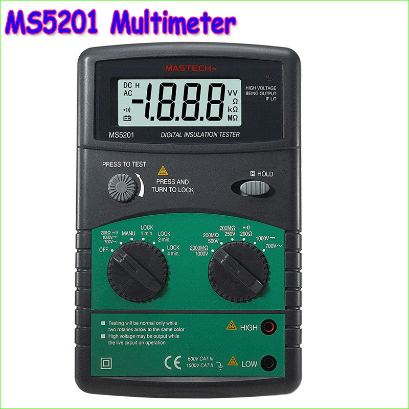 MASTECH MS5201 Digital Megger Megometro Mega Ohm Insulation resistance tester Sound and light alarm 2017 mastech ms5202 digital analogue dual display pointer megger megometro insulation resistance tester max to 2500v 100000 mohm
