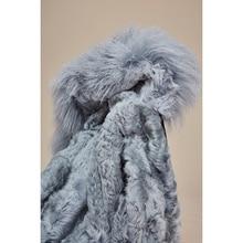 New Fashion Women's Real lamb fur lined Parka Midi mongolia sheep fur Hooded Coat Warm Outwear Winter Jacket