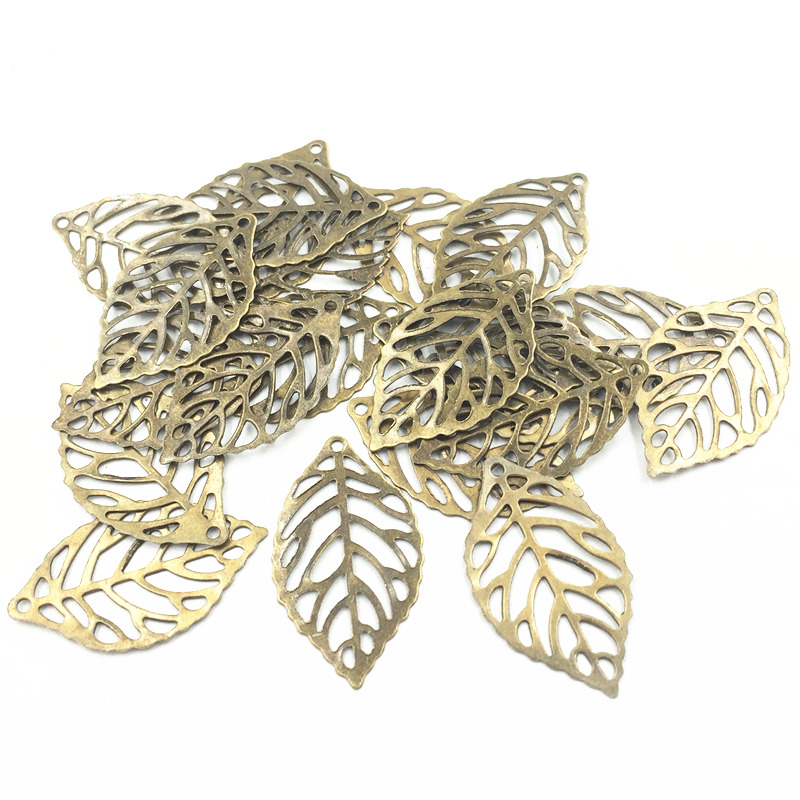 10Pcs Bag Embelishment Ornament Antique Bronze Tone Filigree Wraps Leaf Plant Alloy DIY Findings 24x13mm
