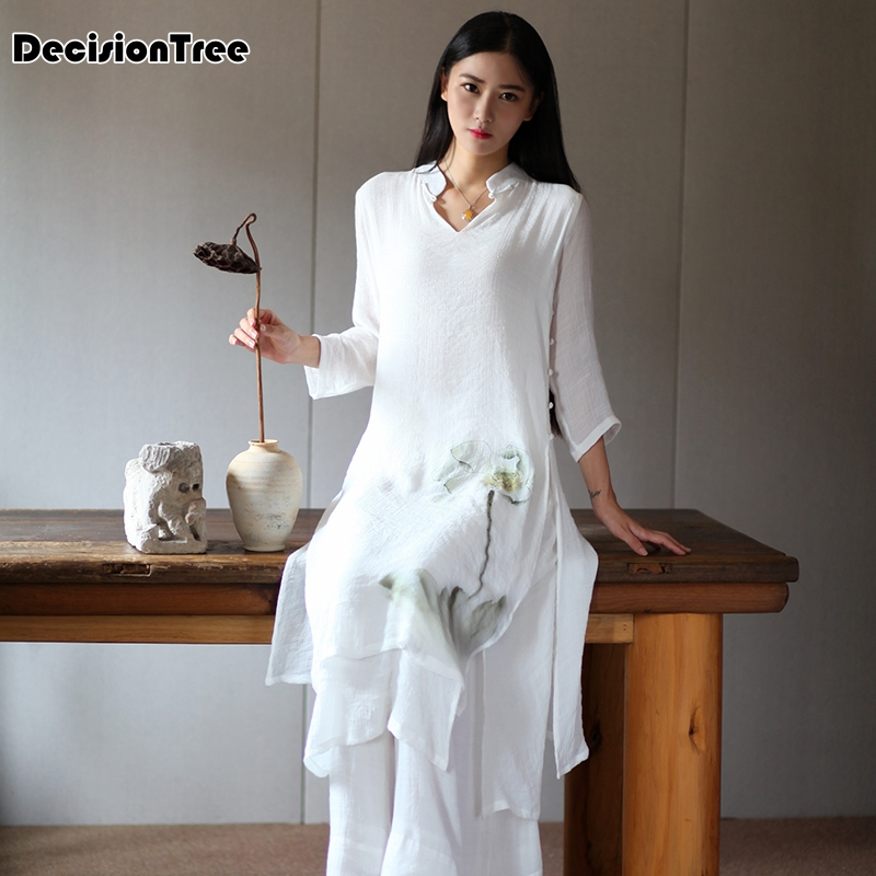 2020 Folk Style Vietnam Robes Suit Chiffon Aodai Graceful Stand Collar Elegant Improved Long Dress