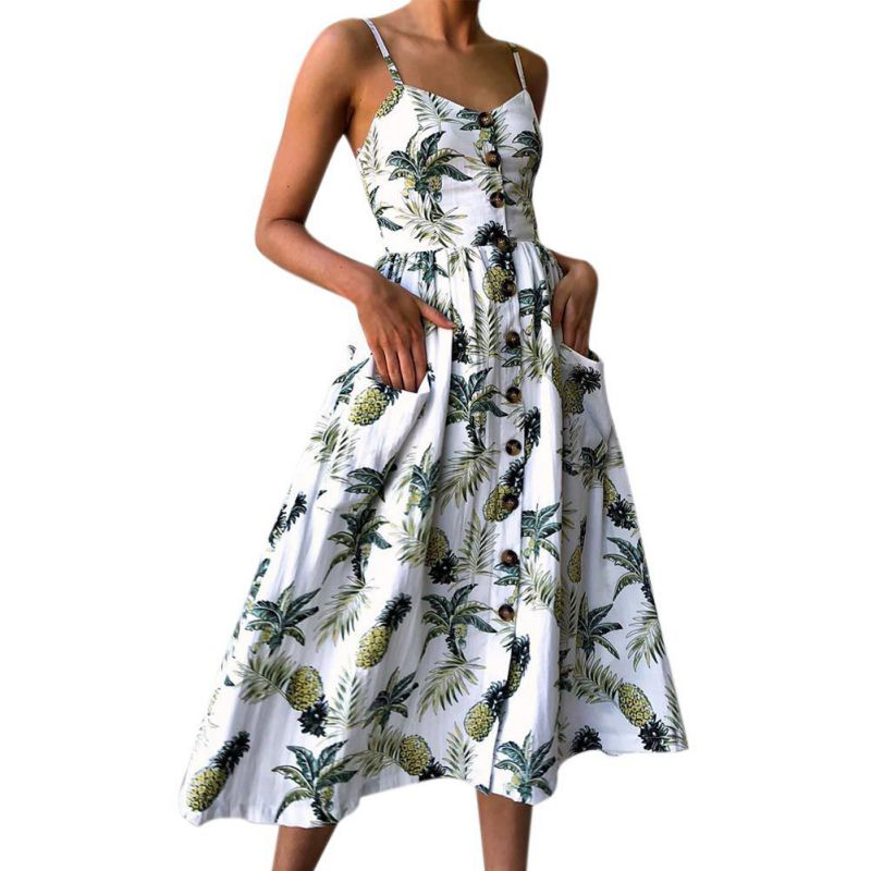 <font><b>Women</b></font> Summer Vintage <font><b>Dress</b></font> <font><b>Sexy</b></font> Straps Bohemian Floral Tunic Beach Sundress Navy <font><b>Blue</b></font> <font><b>Pink</b></font> Pocket Female <font><b>Dresses</b></font> image
