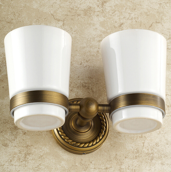 Brass antique double tumbler cup holder toothbrush holder for Bathroom ware