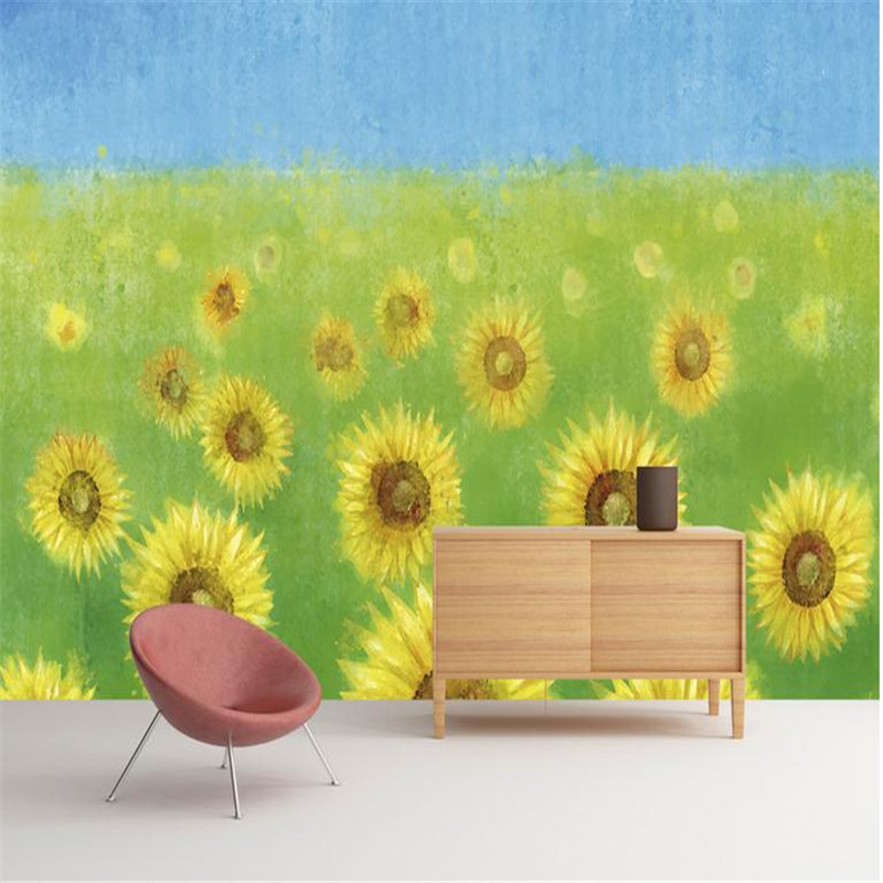 custom 3d high quality modern photo wallpaper large living room background wall mural flower sea yellow sunflower wallpaper custom photo wallpaper high quality wallpaper personality style retro british letters large mural wall paper for living room