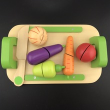 Wooden Kitchen font b Toys b font Cutting Fruit Vegetable Play miniature Food Kids Wooden baby