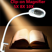 Clip on magnifier with LED light 5/8/10X Reading Electronic Cellphone Repair Jewelry Appraisal magnifying glass Desk Lamp