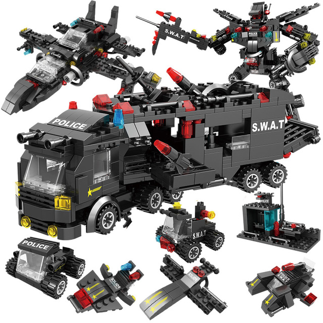 715pcs City Police Station Car Building Blocks SWAT Team Truck House Technic Diy Toys 4