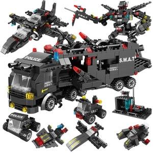 Image 4 - 715pcs עיר משטרת תחנת רכב אבני בניין עבור עיר SWAT צוות משאית בית בלוקים טכני Diy צעצוע לנערים ילדים
