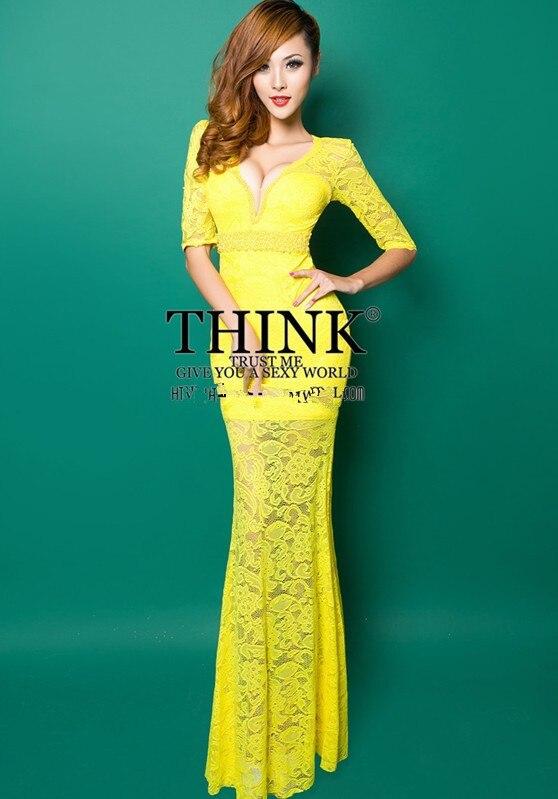 Реалистичная картина кружево с v-образным вырезом Вечерние платья строгое длинное вечернее платье vestido de festa rendo robe de soiree abiti da sera 559 - Цвет: Yellow