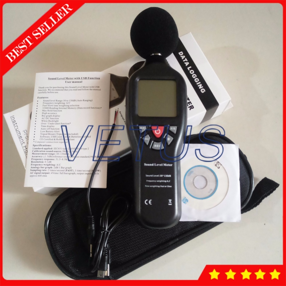 TL-200 Digital USB Sound Level Decibel Tester Meter with Noise Data Logger цена