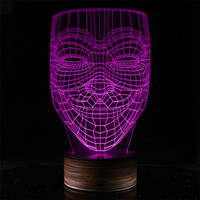 New 2018 3D Wooden Smile face Kid LED Night Light Joker Cartoon 3D illusion Lamp kids Birthday Christmas with remote controller