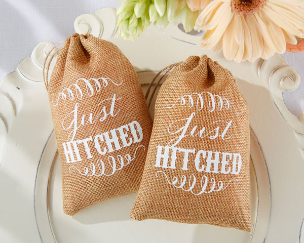 wedding candy favor bag -- Just Hitched colored rustic mini burlap cloth drawstring party muslin sweet favor gift bag 50pcs/lot