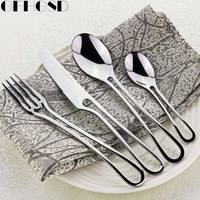 4Pcs Exquisite Silver Dinner Flatware Set Kit Stainless Steel Cutlery Kitchen Fork Knife Scoops Silverware Set