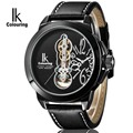 IK Colouring Men Watch Dual Movement Automatic Self Wind Movement Quartz Big Hollow Dial Number ScaleTourbillon